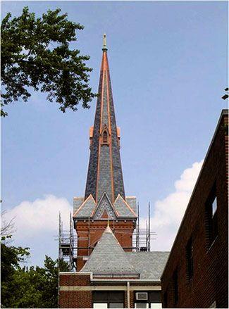 church-steeple-top-copper trim replaced photo CASS Sheetmetal Detroit MI