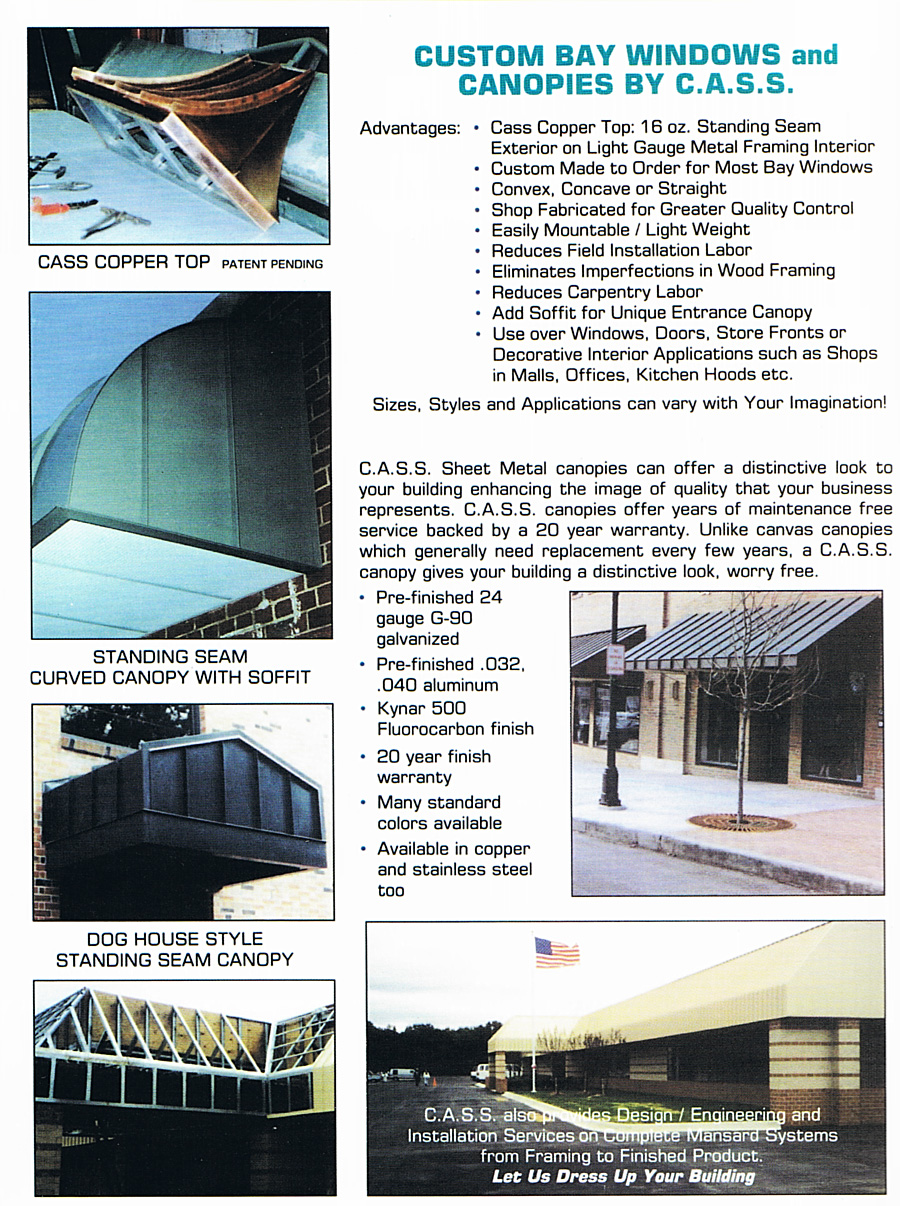 CASS-Prefab-Metal-Canopies fabricated by CASS Sheetmetal Detroit MI