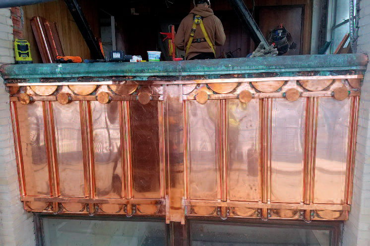 Book Hotel Tower copper spandrel panels restored by CASS Sheet Metal Contractor Detroit MI